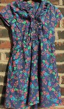 NEW GAP BLUE FLORAL Tea DRESS Size XXL (13) Drawstring Waist, Frill Neck LINED