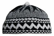 Kufi Mens Blue Cotton Zigzag Beanie Kufi Hat with Ball on Top One-size