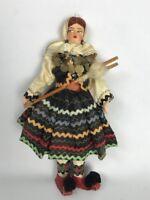 """Vintage Cloth Doll Greece Grecian 1950's Peasant 10 1/4"""""""
