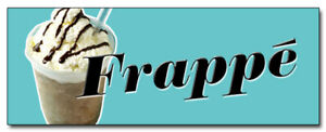 """24"""" FRAPPE DECAL sticker greek iced coffee cart cold retail storefront marketing"""
