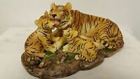 Tiger + Cubs Collectible Wild Cat Animal Decoration Figurine Statue