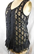 Pretty Angel Black Lace Button Tunic Sleeveless Ruffle Sheer Sz M         PT1