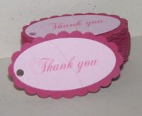 """Hand made scallop  Pink or blue """"Thank you"""" gift tags. Pk-100"""