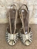 Salvatore Ferragamo Ladies Cream Macrame Grey Snakeskin Sandals US 8c UK 6