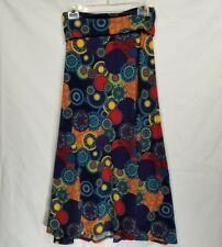 LuLaRoe Womens XS Maxi Long Skirt Blue Red Floral Paisley