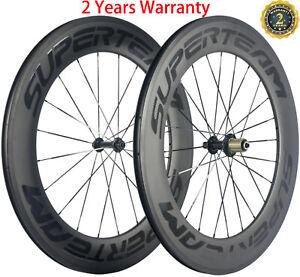 88mm Carbon Wheelset Road Bike Clincher Bicycle Carbon Wheelset 700C 23mm Width