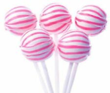 50 PINK & WHITE BALL LOLLIPOPS CANDY BUFFET LOLLIES FLAVOUR (ORANGE YELLOW GREEN