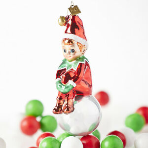 "RAZ Imports~5"" GLASS ELF CHRISTMAS ORNAMENT~Tree/Wreath/Eric Cortina Collection"