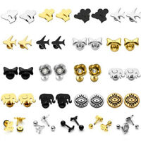 Steel Heart Flower Bow Barbell Ear Bar Helix Cartilage Stud Tragus Ring Earrings