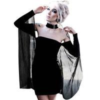 Black Lolita Gothic Womens Girls Mini Bodycon Dress Off The Shoulder Mesh S M L