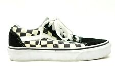 Vans Womens Old Skool Canvas Checkerboard Black Low Top Skate Shoes US 5.5 EU 35