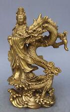 China Brass Dragon kwan-yin GuanYin Goddess buddha statue