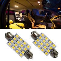 2x 42MM C5W 3528 16 SMD LED Interior Festoon Dome Bulb Reading Lights Warm White