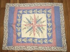 Pair Standard Floral Red Blue Quilted Pillow Shams LG Star Triangle Appliqués