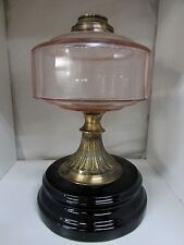 ANTIQUE KEROSENE LAMP PINK FACETED GLASS FONT BRASS BLACK CERAMIC BASE VICTORIAN