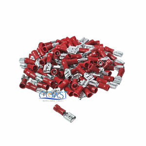 """Red Female Quick Disconnector Terminals .250"""" 22-18 MD250R - 100 pcs"""