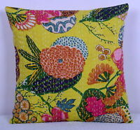 "16"" YELLOW FLORAL INDIAN KANTHA CUSHION PILLOW COVER Ethnic Vintage Decor Art"