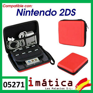 Cover For Console Nintendo 2DS Zip Case Carry Bag Red