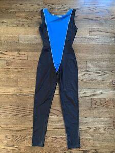 Vintage Retro 80s Jacques Moret Unitard Black Blue Size Medium