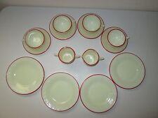 McKee Laurel French Ivory Red Trim Children's Tea Set