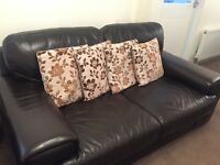 Dark brown real leather, 2 seater & 1 seater sofa