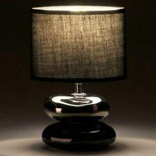Lampada da Tavolo Lume Comodino in Ceramica Tessuto Nero Design Moderno Abatjour