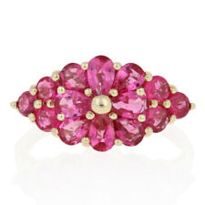 2.75ctw Pear & Round Cut Deep Pink Sapphire Ring -10k Yellow Gold Floral Cluster