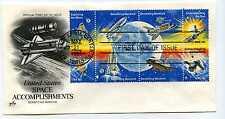 "1912-19 Space Achievements, ArtCraft 7 1/2""  Space Shuttle, block of 8, FDC"