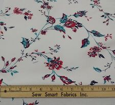 "100% Cotton: Red, Teal, Purple Flowers on White, 64"" W, 3 yd."