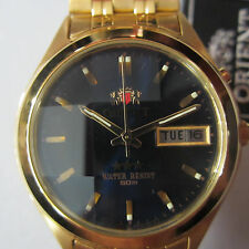 ORIENT JAPAN MEN'S WATCH AUTOMATIC SS GOLD TONE 21 JEWELS CUT CARVED CRYSTAL NEW