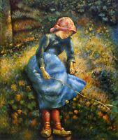 Quality Hand Painted Oil Painting Repro Camille Pissarro Young Girl 20x24in
