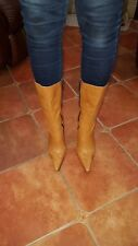 RIVER ISLAND LIGHT BROWN LEATHER HIGH HEEL BOOTS EUR 38 UK 5