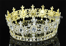 Men's Pageant Imperial Sparkling Tiara Full Circle Round Gold King Crown AT1791