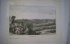Thomas Salmon 1679–1767 18thc Antique Hand tinted engraving Prague Mounted c1780