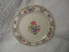 "Edwin M. Knowles Floral/Gold  Border Semi-Vitreous China 10 1/4"" Plate Gold Trim"