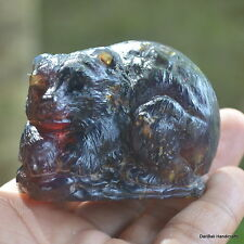 Indonesia AMBER Carving Bear 46mm Height 67Grams A61 Bali Hand Carved