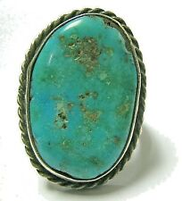 Artisan Sterling Silver Oval Ring Turquoise Handcrafted Size 6.75 Southwestern