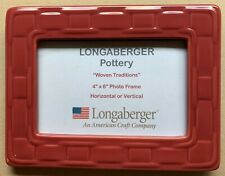 """Longaberger Pottery, 4"""" x 6"""" Picture/Photo Frame, Paprika, Woven Traditions"""