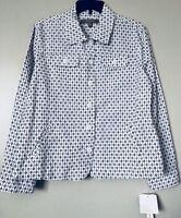 Croft & Barrow Women White Black Linen Cotton Button Front Jacket Size Large NWT