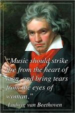 LUDWIG VAN BEETHOVEN famous musician INSPIRATIONAL QUOTE POSTER 24X36 rare