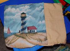 Pair of Beige Blue Lighthouse Print Decorative Print Throw Pillows  16 x 16