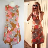 BODEN Retro Pocket Floral Textured Sheath Day Dress UK Size 12 Summer 1960's