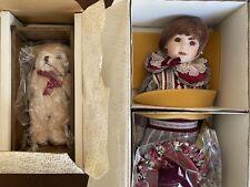 Franklin Mint Heirloom Doll - Megan, Coca Cola Wagon & Bear - In Original Box