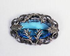 Vintage Art Nouveau Multi Faceted Blue Glass Silver Plate Brooch Leaf Design
