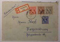 Alliierte Besetzung AM Post Einschreiben München n. Regensburg 14.12.45