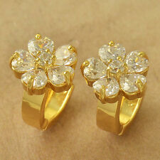 Fashion jewelry Yellow Gold Plated CZ Womens Sunflower CUTE Hoop Earrings lot