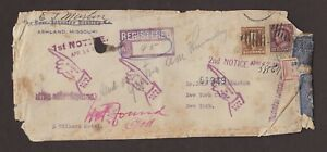 Mo: Ashland 1916 DAMAGED Registered Cover NY Registered Labels as Official Seals