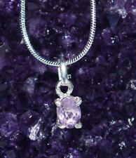 REIKI CHARGED AMETHYST 925 SILVER STONE PENDANT NECKLACE INC 925 SILVER CHAIN