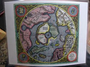 Laminated Mercator North Pole Hondius Arctic Flat map of Earth World mini map