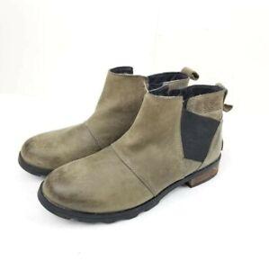 Sorel Emilie Women's Chelsea Waterproof Ankle Boots Size 8 Tan leather